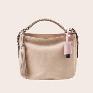 Hygiene-Handgel im Leder-Anhänger rosé passend zur nudefarbenen Handtasche
