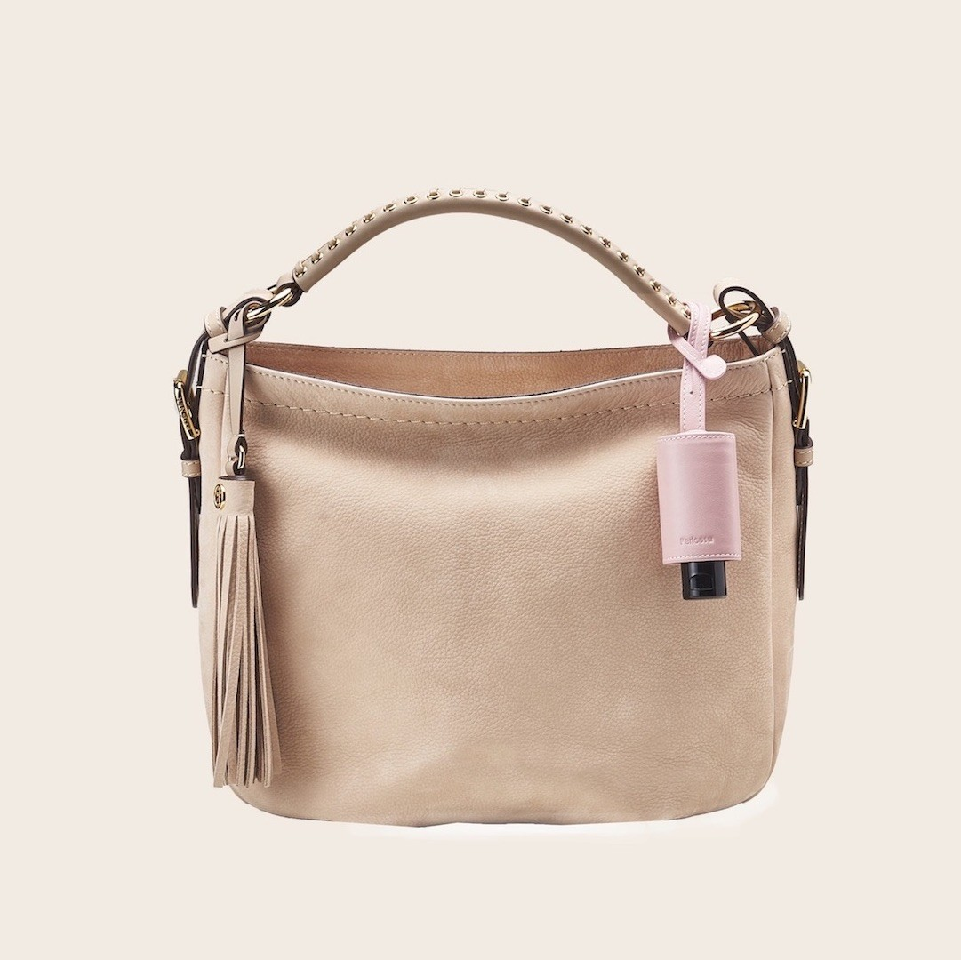Hygiene-Handgel im Leder-Anhänger rosé - CarryME-Set CLASSIC