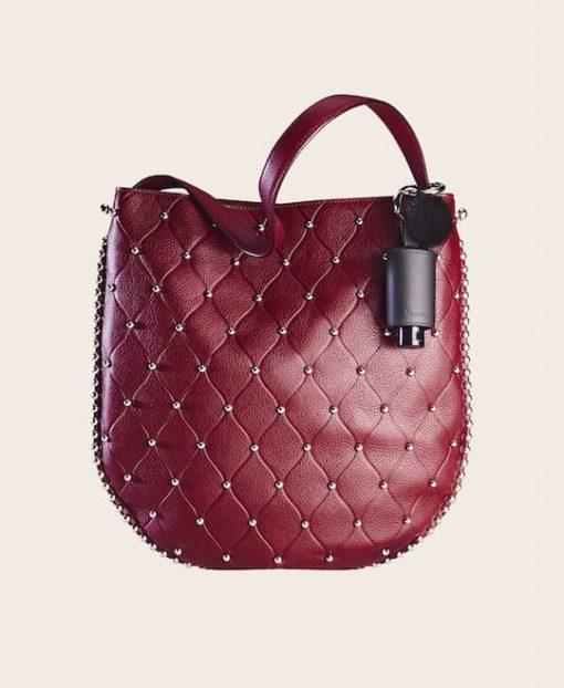 CarryME-Set DELUXE schwarz Tasche rot Handgel Leder-Etui