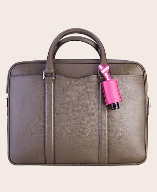 CarryME-Set PURE pink Tasche olive Handgel Leder-Etui