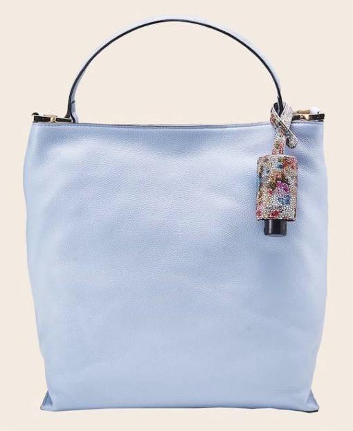 Hygiene Handgel CarryME-Set TREND Blumenmuster Tasche hellblau Leder-Etui