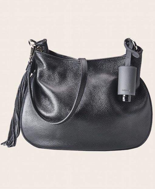 Hygiene Handgel Taschananhänger grau Tasche schwarz