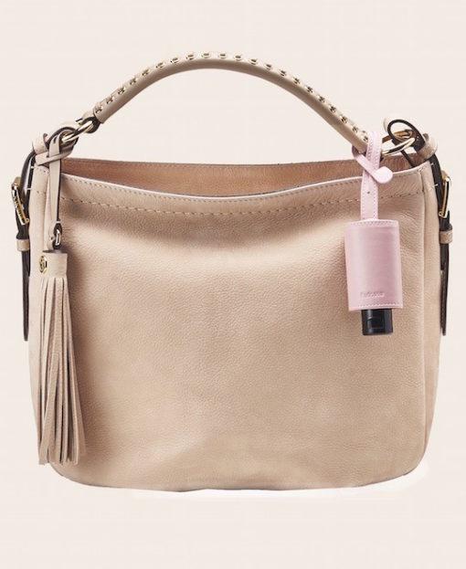 Hygiene Handgel Taschananhänger rose Tasche creme