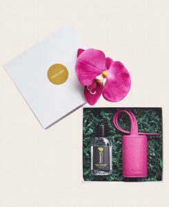 Hygiene Handgel Taschenanhänger pink Geschenkkarton