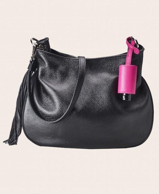 Hygiene Handgel Taschenanhänger pink Tasche schwarz