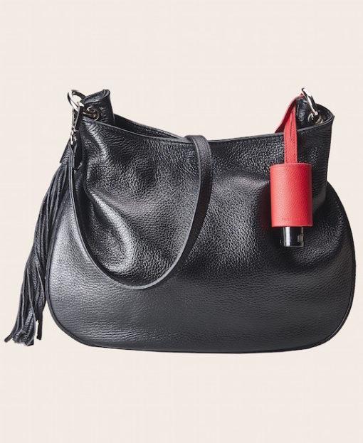 Hygiene Handgel Taschenanhänger rot Tasche schwarz
