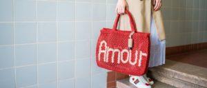 Hygiene Handgel Taschenanhänger CarryME-Set Classic beige Tasche rot geflochten